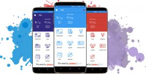 TRX Payment App in blue, red, purple